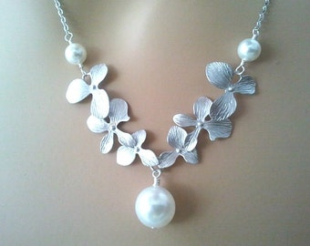 Orchid Flower Necklace, Mom Jewelry, Grandma, Beadwork, Personalized , Flower, Orchid Cascades, Bridesmaids Gift Bridesmaid Jewelry