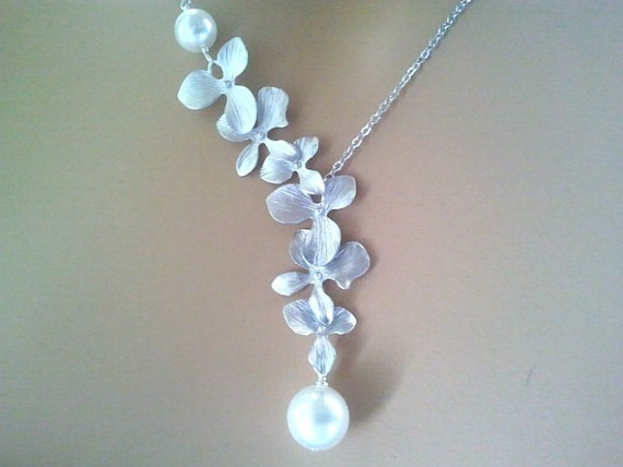 Orchid Necklace, Flower lariat Necklace, Wedding, Bridal, Bridesmaid gifts, Bridesmaid Jewelry,Orchid Pendant,statement,Christmas,Gift