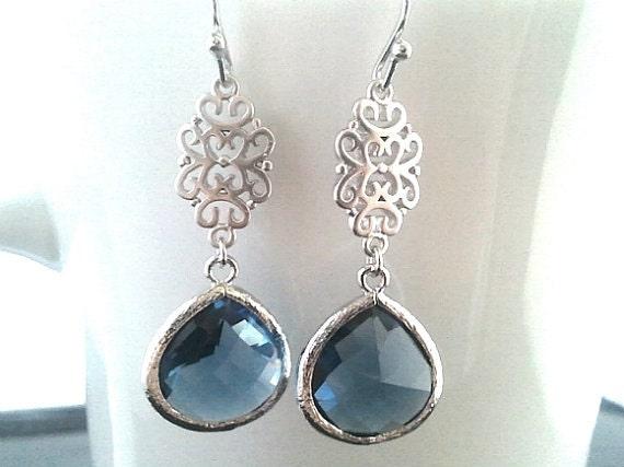 Sapphire blue Silver Earrings, Navy Dangle earrings, Drop,Wedding Earrings,Gemstone,Bridesmaid Earrings, Wedding Jewelry