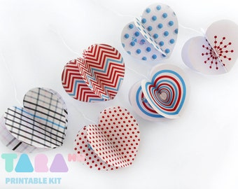 DIY Christmas Heart Ornaments, Set of 6 Printable Cutout, Printable Garland, DIY Paper Toy, TaraHearts, Valentine Decor, Instant Download
