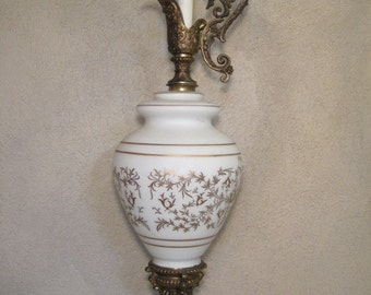 "Art Nouveau Vintage Lamp Oversized Large Brass & Marble Base Angel Design 34"" tall"