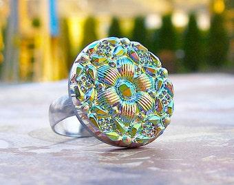 Blush - adjustable Czech glass button ring