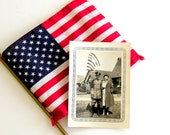 WW2 Soldier in Uniform & Sweetheart Photo US Flag Vintage Photograph 1940s