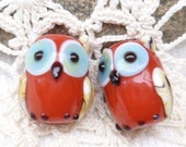 Opaque Red Lampwork Glass Owl Beads (2)