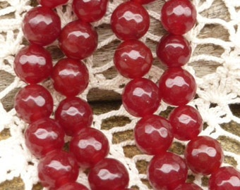 8mm Faceted Ruby Red Round Beads (10)