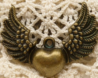 Flying Winged Heart Pendant Charm, Antique Bronze (4) - A91