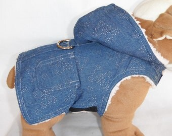 Dog Harness Butterfly Denim Fur Coat - Size XXS, XS, S, M (Made to order)