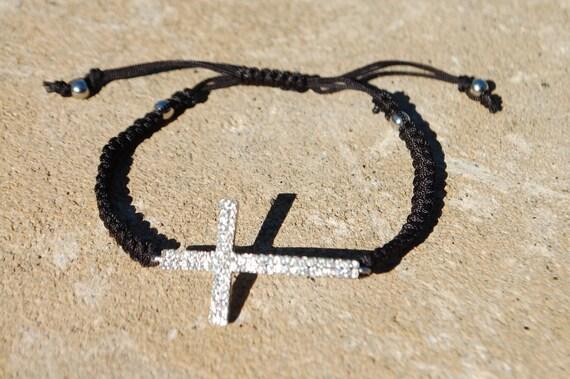 Side Cross  Macrame Bracelet Black/ SIlver