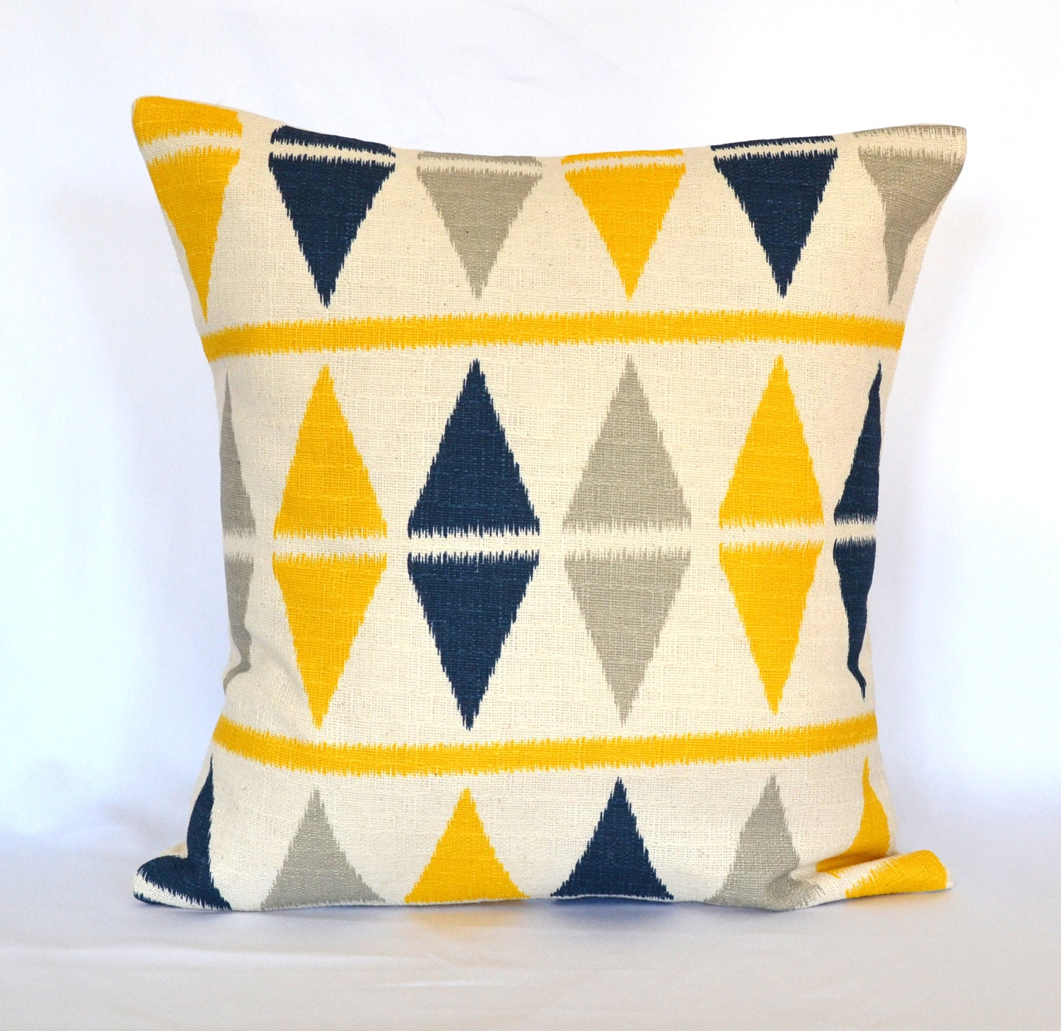 Decorative Pillow Yellow : Pillows Blue navy and Yellow decorative pillow cover throw