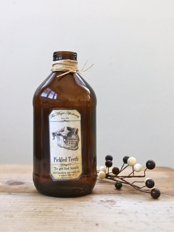 Vintage Bottle with Pickled Teeth Bad Breath Apothecary Label