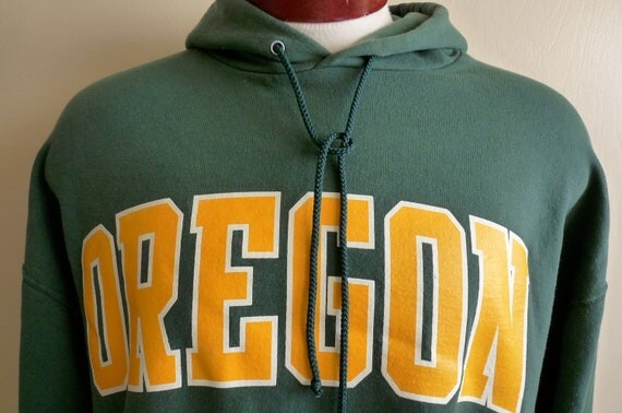 vintage 80's University of Oregon Ducks men's unisex hooded fleece hoodie sweatshirt, green and yellow gold,Oregon Ducks College sweatshirt