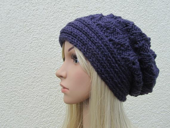 Purple Hand Knit Hat, Slouchy Beret Hat in Purple, Purple  Hat