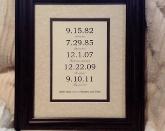 Framed & Matted Custom Date Art Print - Personalized Anniversary Engagement or Wedding Present. Custom Family - Special Dates.  8x10 inch.