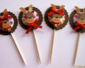 12 Colorful Reindeer Christmas Cupcake Picks/Toppers
