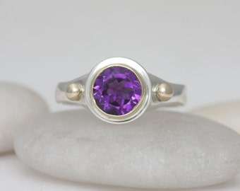 Amethyst and garnet mixed metals ring,size 7 3/4,  #308