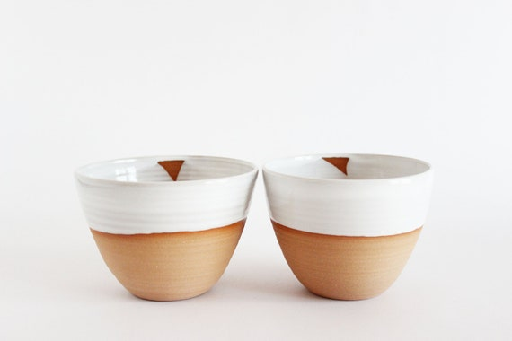 White ceramic tea bowls, pair of two dipped pottery tea cups, tumblers- READY TO SHIP