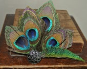 Big peacock feather wedding hair clip