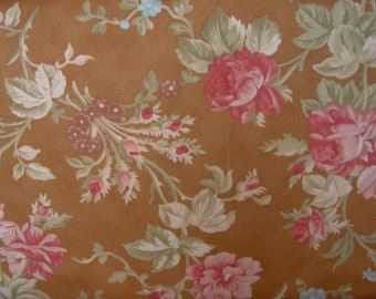 Medium Golden Brown Background with a Floral Print Quilt Fabric by Fig Tree Quilts