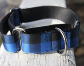 "The Lumberjack Blue Plaid 1.5"" Martingale Collar"