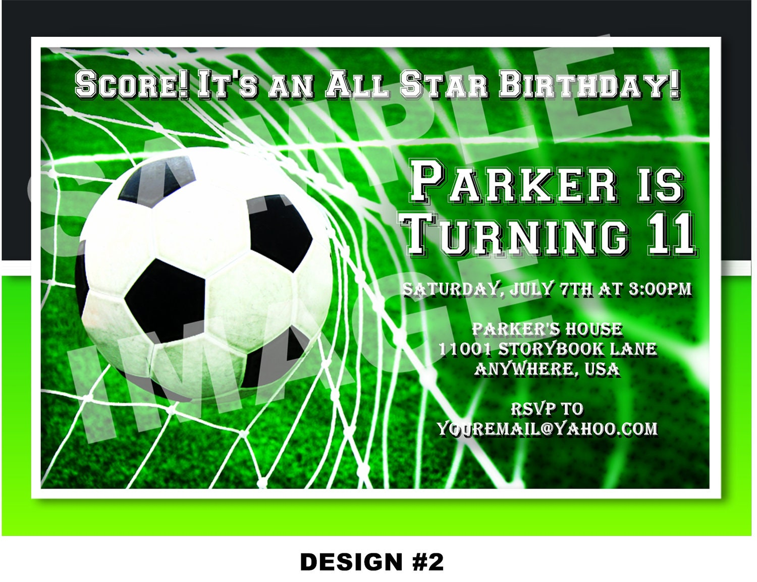 zoom - Soccer Party Invitations