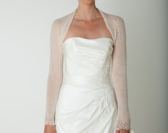 Bridal Shrug for your wedding dress with lace sleeve knitted for the vintage wedding in white CASHMERE, off white, ivory and other colours