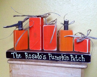 Custom Wooden Pumpkin Patch family of 5 Personalized Blocks