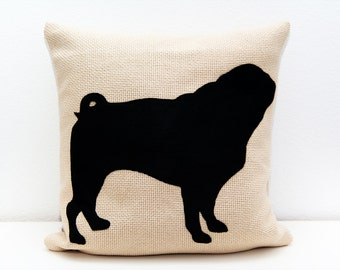 Pug pillow cover, beige and black, dog pillow, decorative pillow, sofa pillow, cojín del sofá, almofadas, personalized pillow, memorial