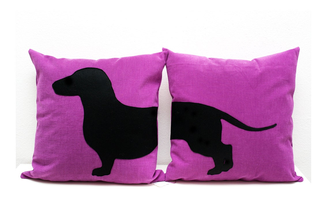 Dachshund Pillow Covers Purple And Black Dog Pillows