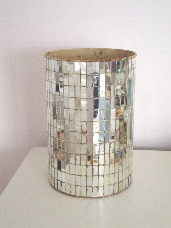 Vintage Mirrored Wastebasket Mirror Trash Can Mid Century