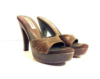 90s Leather Platform Stiletto 7 - High Heel Slip On Clogs 7