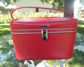Vintage 1960s Red Sears Featherlite Train Case Overnight Case  with Keys and Mirror