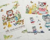 Farm Cat Fabric Panel Linen Cotton Fabric Bag Pillow Cover Curtain Kids Fabric- Cat Series Farm Cat One Panel 40x140cm