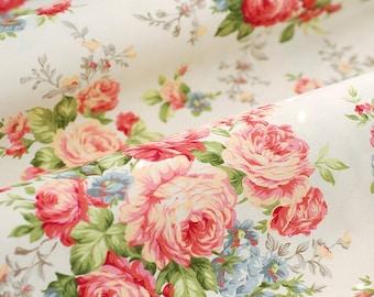 Peony Cotton Fabric Pink Cream Light Beige Background Shabby Chic Large Flower