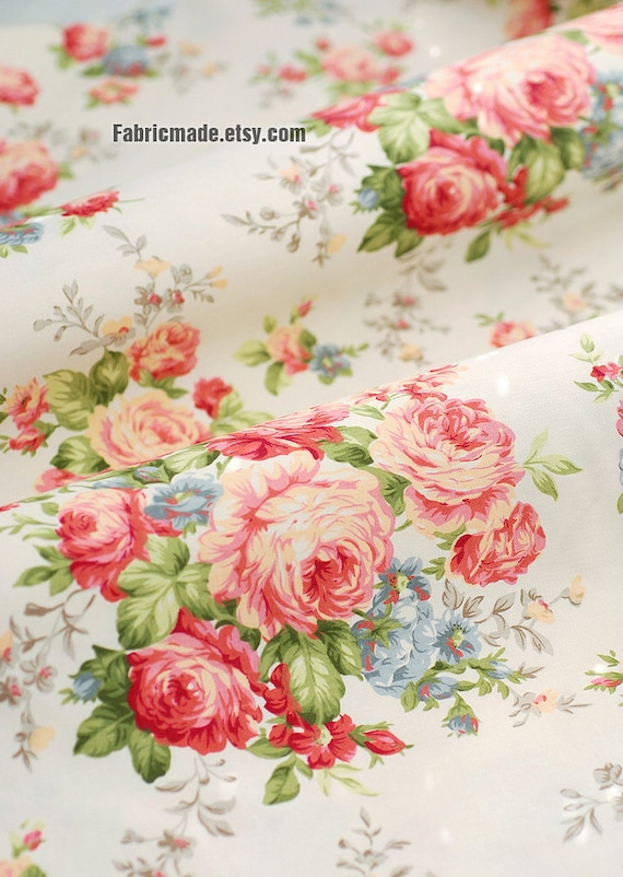 Peony cotton fabric pink peony cream light beige cream for Ameublement shabby chic