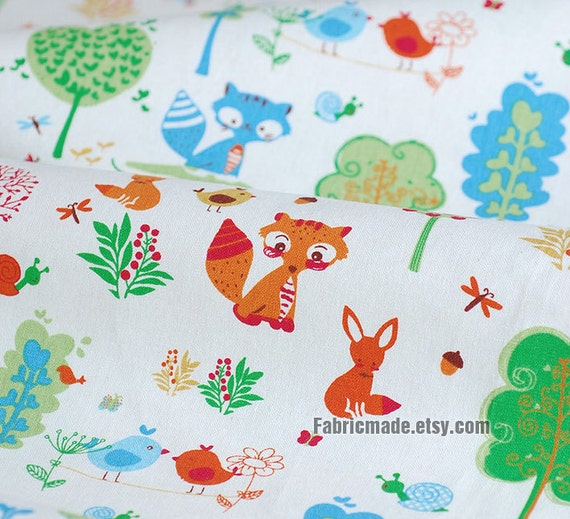 cartoon kids fabric cute bird fox squirrel cotton linen