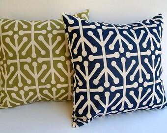Throw pillow covers pair Navy Blue Olive Green Natural Aruba navy pillows blue pillows Autumn cushion covers