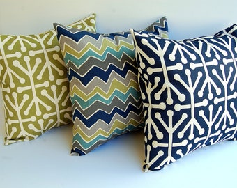 Throw pillow covers set of three cushion covers pillow shams decorative pillows gray olive green navy blue natural