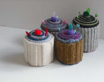 Felted wool parfait pincushion