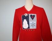Vintage UGLY CHRISTMAS SWEATER / Unisex Red Fleece Sweatshirt Sweater / Snowman Heart Snowflakes / Size Large