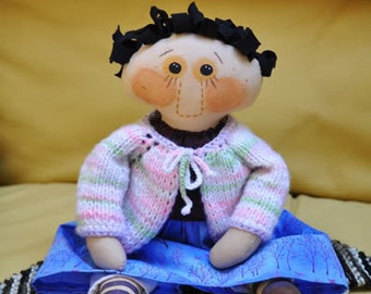 SALE! Hand stitched all natural Primitive doll. Folk Doll, Child Friendly Rag Doll.