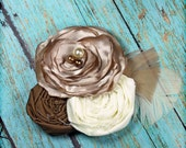Beige, Ivory, Brown Headband, Bridal Hair Accessory, Cream Fabric Flower Brooch, Hair Piece, Hair Clip, Baby Headband, Tan Flower Hair Bow