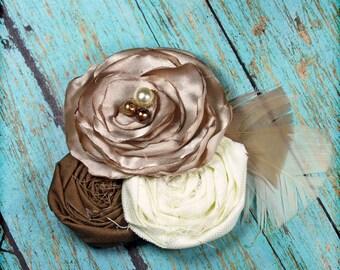 Beige, Ivory, Brown Headband, Bridal Hair Accessory, Cream Fabric Flower Brooch, Hair Piece, Hair Clip, Baby Headband, Tan Flower Hair Bow