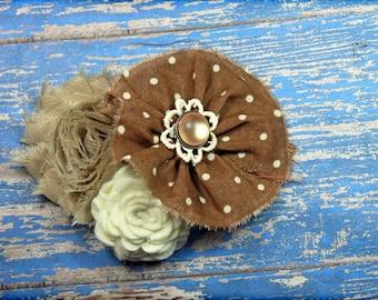 Brown, Ivory, Beige Headband, Tan Hair Accessory, Fabric Flower Brooch, Cream, Flower Hair Clip, Baby Girl Hair Bow