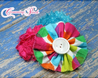 Flower Headband, Turquoise, Pink, Lime Hair Accessories, Hair Clip, Fabric Flowers, Baby Girl Hair Bow, Girl's Headband