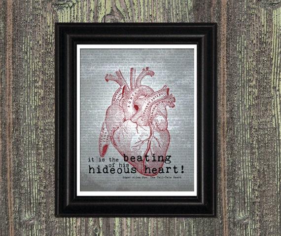 Edgar Allan Poe Art Quote,  HIDEOUS HEART,  Tell Tale Heart, Anatomical Vintage Heart, Library Decor, Halloween Decor, Macabre Art, 8x10