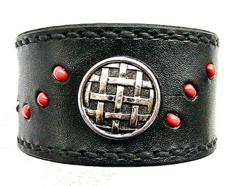 Black leather wristband with button and glass bead inlay.