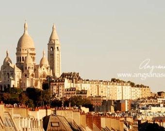 Paris Montmartre Photo, Sacre Coeur picture, Paris Architecture, Panoramic, 8x18, Wall decor, sunrise, paris travel photo, Christmas
