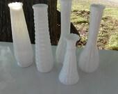 Set of 5 Beautiful Vintage Milk Glass Bud Vases Wedding or Bridal Shower Beach Decor Simply Chic