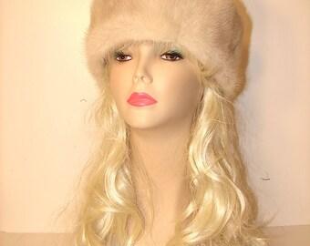 "HE-18 White Beige Grey Mink Fur Headband X-Large Size 25.5"""