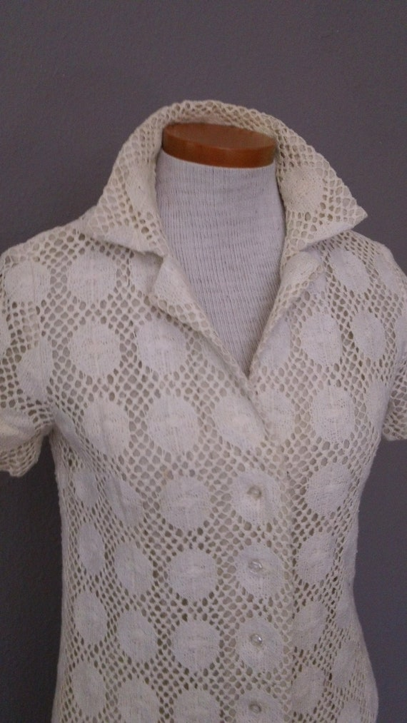 60s Lined Cotton Lace Sheath Shirt Cut Summer Day Dress